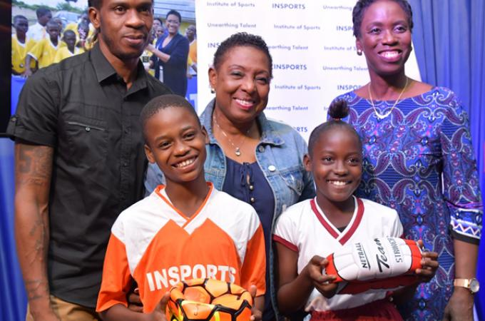 """649827d3 Minister of Sport Olivia Grange (centre) at the launch with Ian """"Pepe""""  Goodison (left), former national football player and ambassador for the  INSPORTS ..."""